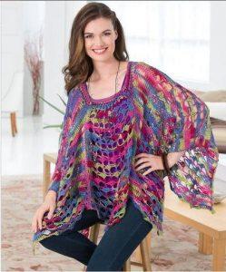Mosaic sunset poncho crochet pattern