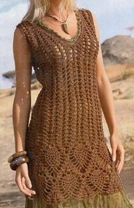 brown summer crochet dress
