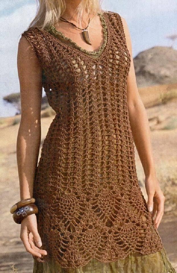 brown summer crochet dress