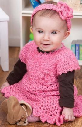 bright pink crochet baby dress