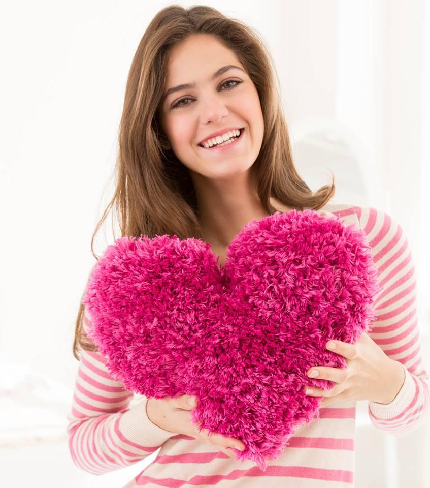 Crochet pillow heart