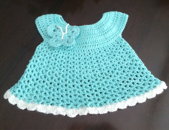 robins egg colour baby dress in crochet pattern