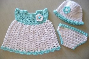 crochet baby dress for girl with hat