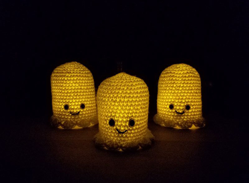 Halloween ghost lanterns in the dark
