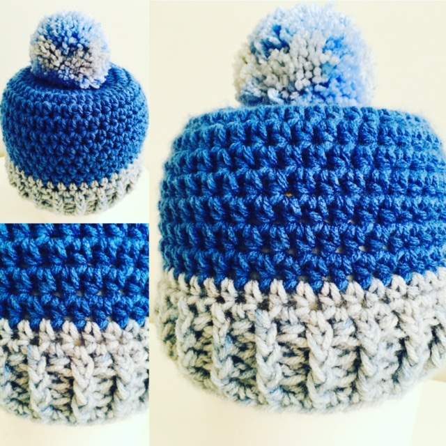 crochet baby beanie in blue for the winter