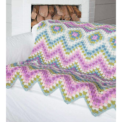 Motif Afghans inner pages zig zag chevron in pink blue and green