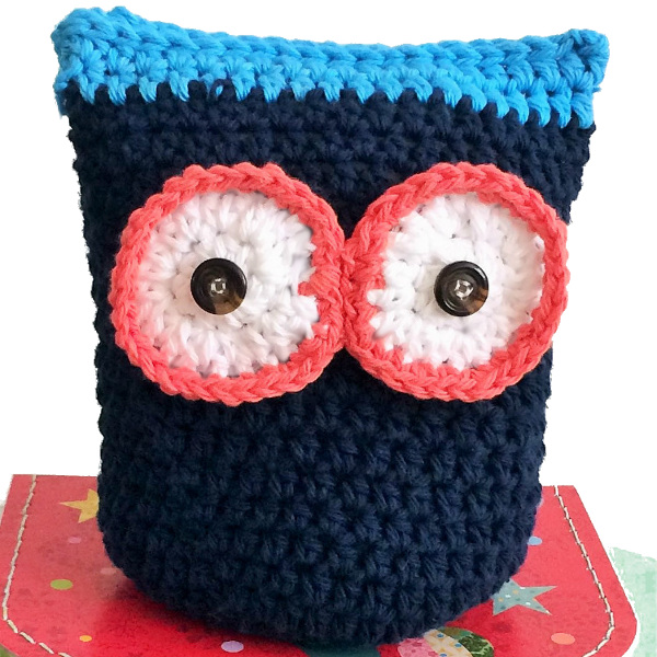 crochet toy pudgy owl navy colour