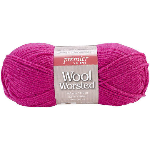 Raspberry - Wool Worsted Yarn