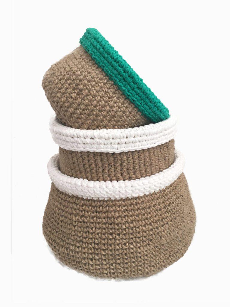 crochet blankets jute green and white