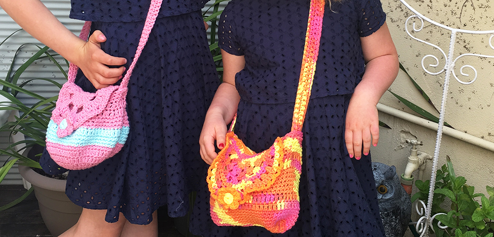 crochet handbags for girls, cotton yarn multicolor
