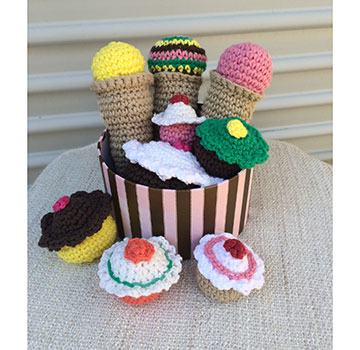 basket of crocheted toys