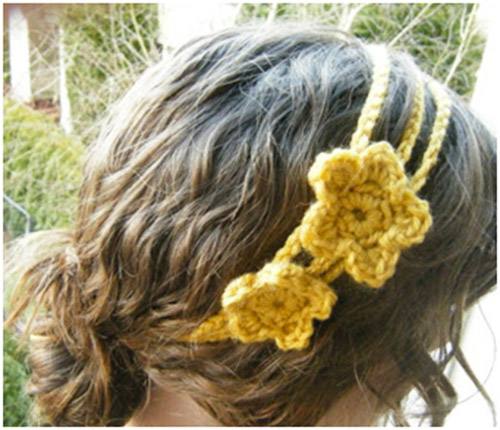 crochet girls headband with flowers