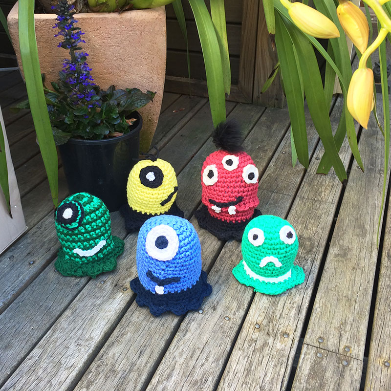family of crochet monster toys