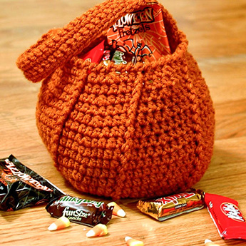 crochet pumpkin trick or treat bag