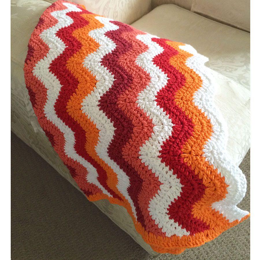 Crochet Patterns Using Sweet Roll Yarn : crochet-ripple-orange-pink-blanket