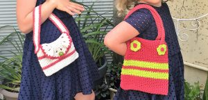 girls crochet handbags pink yellow and white