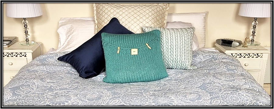 knitted luxury pillow pattern soft teal bed decoration