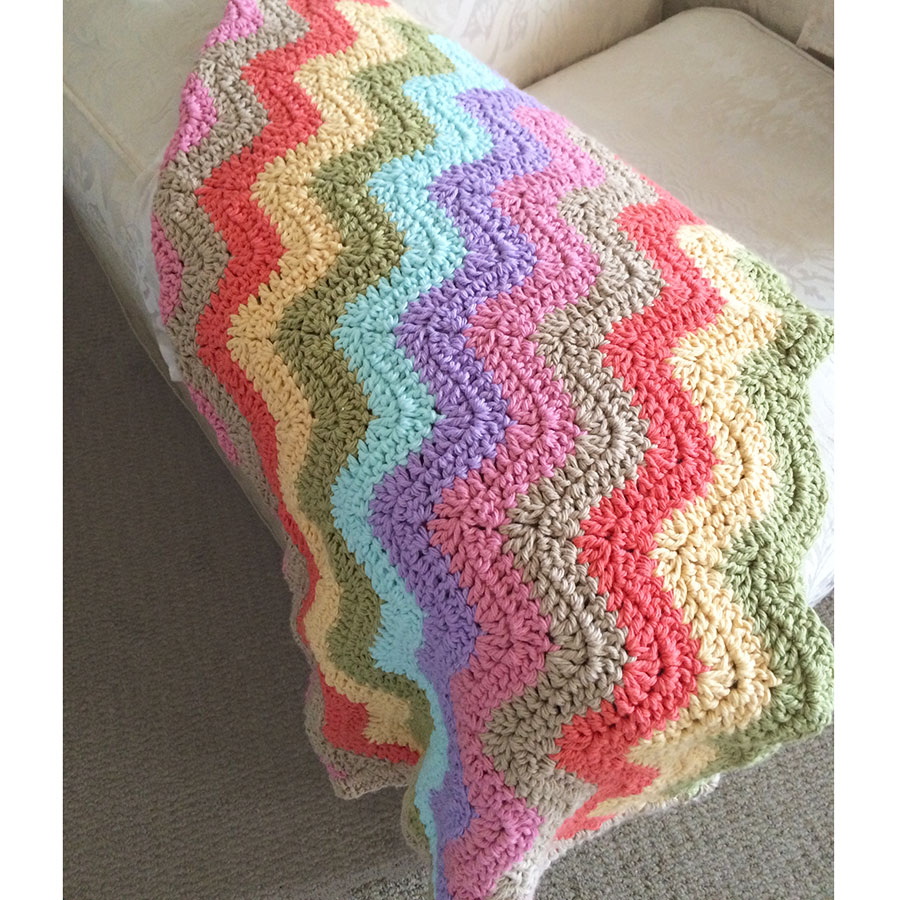 crochet blanket in lounge room