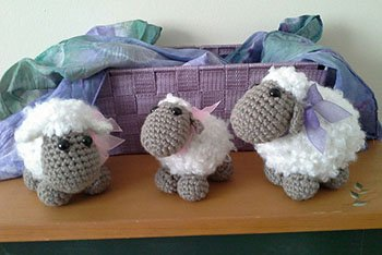 sheep toys in baby cloud yarn