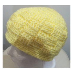 baby beanie yellow colour square stitch